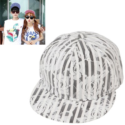 Plussize black flower stripe pattern lace design canvas Baseball Caps