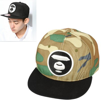 Healing camouflage color bear face embroidered simple design canvas Baseball Caps