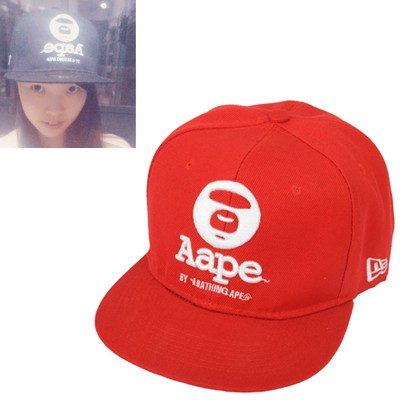 Formal red letter AAPE embroidered simple design canvas Baseball Caps