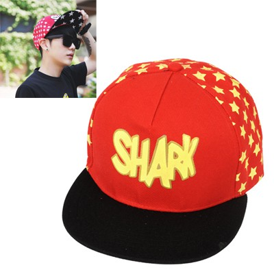 Healing black star pattern letter SHARK printed luminous design canvas Baseball Caps