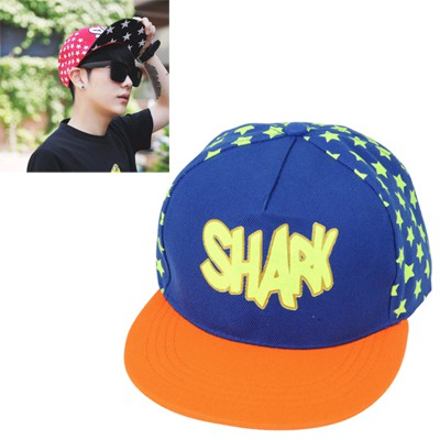 Infinity orange star pattern letter SHARK printed luminous design canvas Baseball Caps
