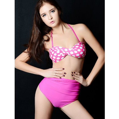 Adjustable pink & white Push Up Strappy Halter design polyester Sexy Bikini