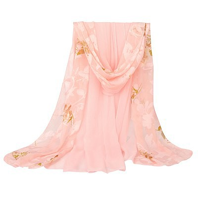 Personaliz pink large flower pattern stitching design silk Thin Scaves