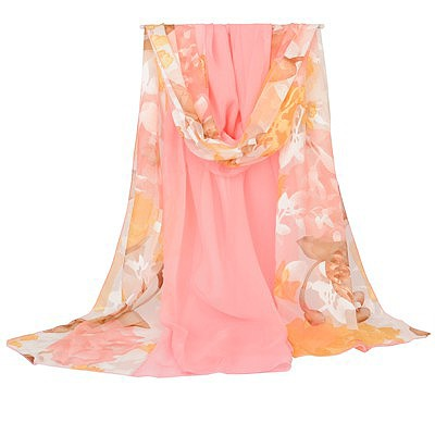 Mobile pink Lotus pattern stitching design silk Thin Scaves