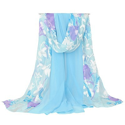 Pregnancy blue large flower pattern stitching design silk Thin Scaves