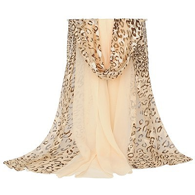 Invicta beige leopard pattern stitching design silk Thin Scaves