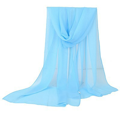 Vera blue pure color simple design chiffon Thin Scaves