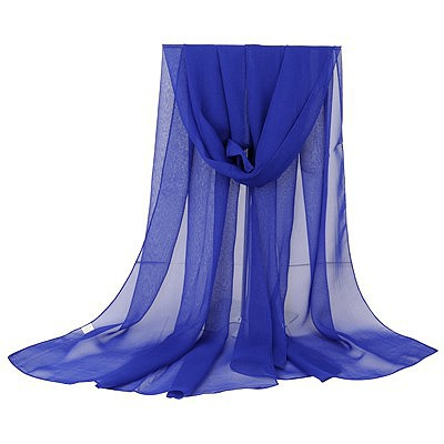 Pentacle dark blue pure color simple design chiffon Thin Scaves