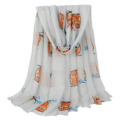 Fitness light blue Owl pattern simple design voile Thin Scaves