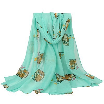 Fantasy green Owl pattern simple design voile Thin Scaves
