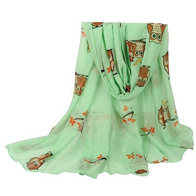 Premier light green Owl pattern simple design voile Thin Scaves