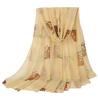 Custom apricot Owl pattern simple design voile Thin Scaves