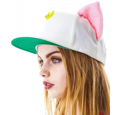 Elephant white fox ears shape simple design canvas Baseball Caps