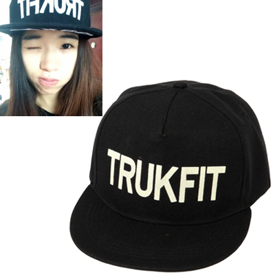 Floral black luminous letter TRUKFIT printed simple design canvas Baseball Caps