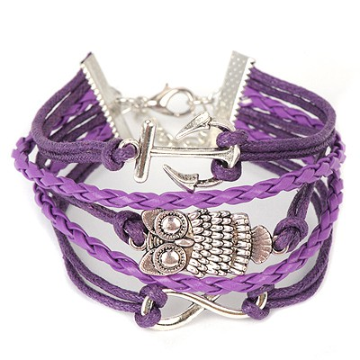 Current purple owl decorated woven rope design alloy Korean Fashion Bracelet