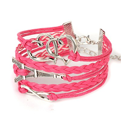 Mint plum red heart to heart decorated woven rope design alloy Korean Fashion Bracelet