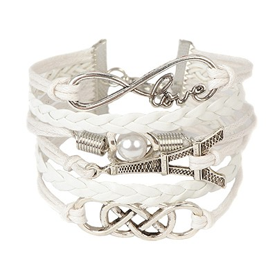 Aluminium white Eiffel Tower decorated woven rope design alloy Korean Fashion Bracelet