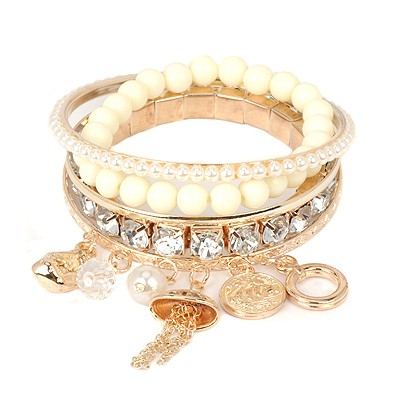 Political white diamond decorated multilayer design alloy Fashion Bangles