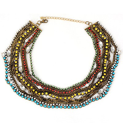 Fashionabl multicolor gemstone decorated multilayer design alloy Bib Necklaces