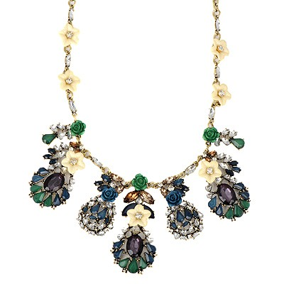 Fine multicolor gemstone decorated flower design alloy Bib Necklaces