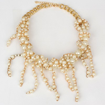 Sequined white pearl decorated tassel design alloy Bib Necklaces