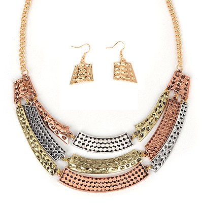 Hot multicolor metal decorated stitching design alloy Jewelry Sets
