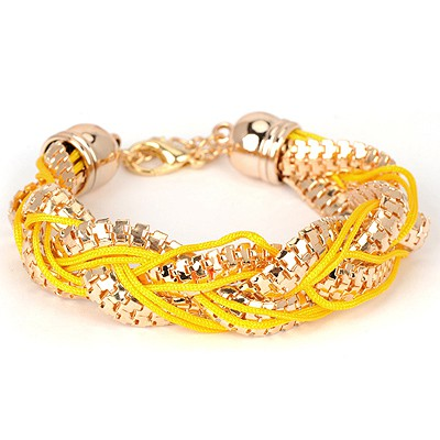 Magnetic yellow metal decorated twist design alloy Korean Fashion Bracelet