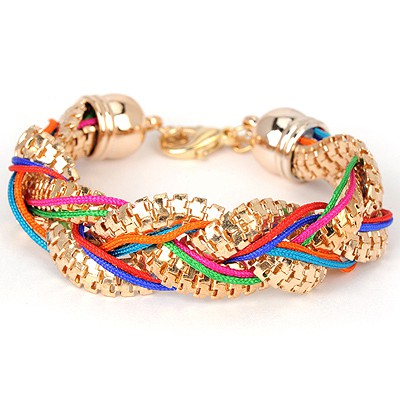 Native multicolor metal decorated twist design alloy Korean Fashion Bracelet