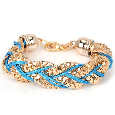 Woolrich blue metal decorated twist design alloy Korean Fashion Bracelet