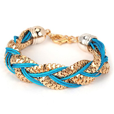 Electric blue metal decorated twist design alloy Korean Fashion Bracelet