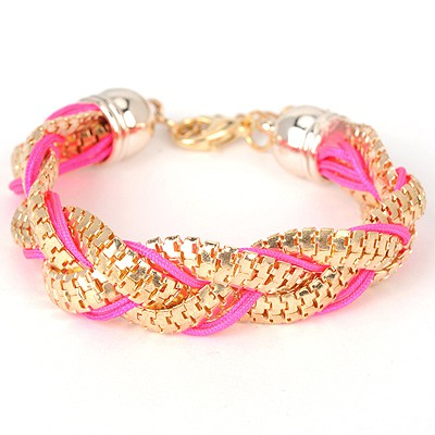 Homecoming plum red metal decorated twist design alloy Korean Fashion Bracelet