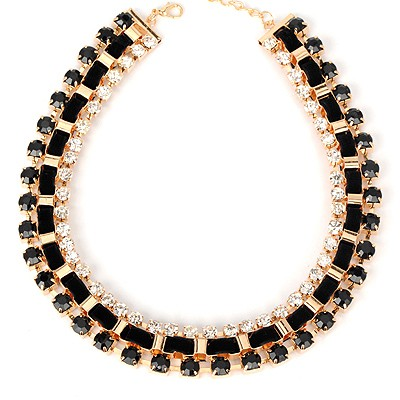 Lovely black diamond decorated weave design alloy Bib Necklaces
