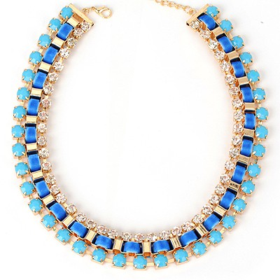 Mechanic navy blue diamond decorated weave design alloy Bib Necklaces
