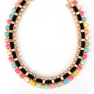 Acrylic multicolor diamond decorated weave design alloy Bib Necklaces