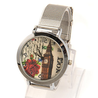 Postal silver color flower decorated Big Ben pattern design electronic Ladies Watches