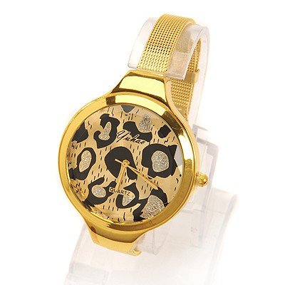 Stationary gold color leopard grain pattern simple design electronic Ladies Watches