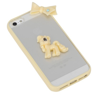 Venetian light yellow bowknot&horse decorated simple design(5/5s) tpu Iphone 5 5s