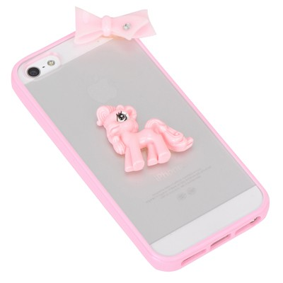 Digital pink bowknot&horse decorated simple design(5/5s) tpu Iphone 5 5s