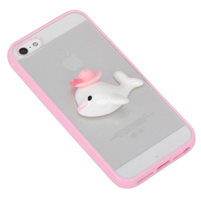 Amethyst pink dolphin decorated simple design(5/5s) tpu Iphone 5 5s