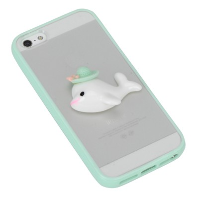 Liquid green dolphin decorated simple design(5/5s) tpu Iphone 5 5s