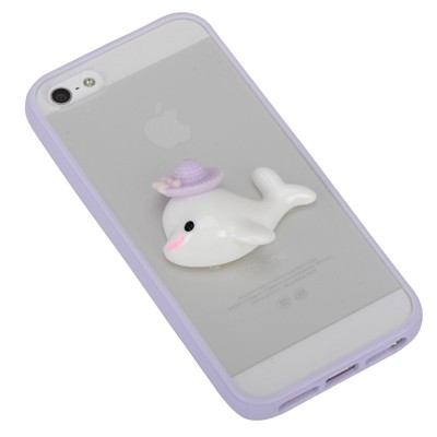 Rhinestone purple dolphin decorated simple design(5/5s) tpu Iphone 5 5s