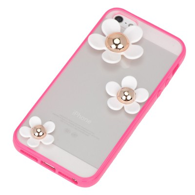 Moving plum red flower decorated simple design(5/5s) tpu Iphone 5 5s