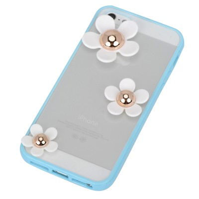 Catholic blue flower decorated simple design(5/5s) tpu Iphone 5 5s