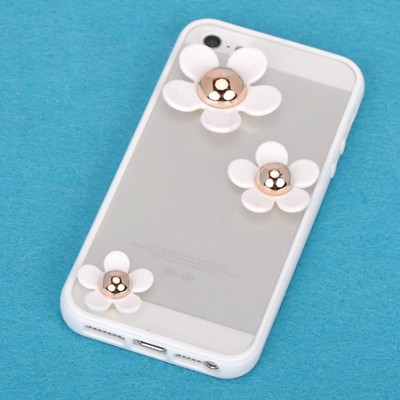 Energie white flower decorated simple design(5/5s) tpu Iphone 5 5s