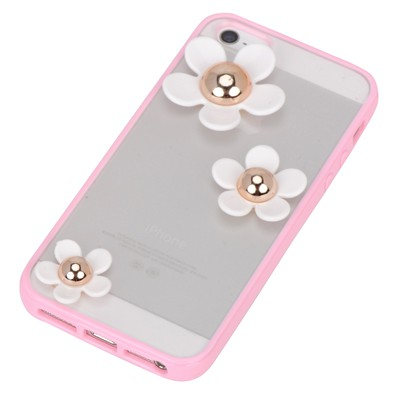 Rhinestone pink flower decorated simple design(5/5s) tpu Iphone 5 5s