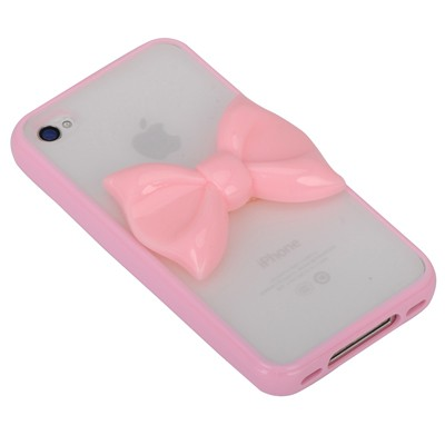 Toddler pink bowknot decorated simple design(4/4s) tpu Iphone 4 4s