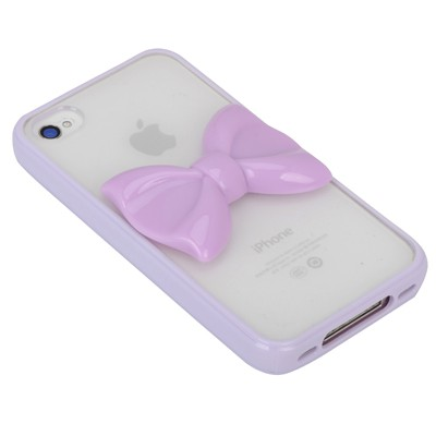 Magnifying purple bowknot decorated simple design(4/4s) tpu Iphone 4 4s