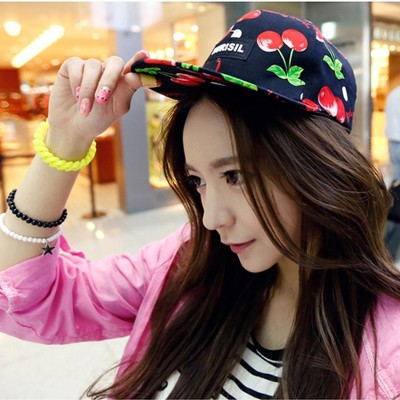 Korean black Letter BURISIL printed cherry pattern design canvas Baseball Caps