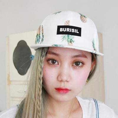 Flirty white Letter BURISIL printed pineapple pattern design canvas Baseball Caps