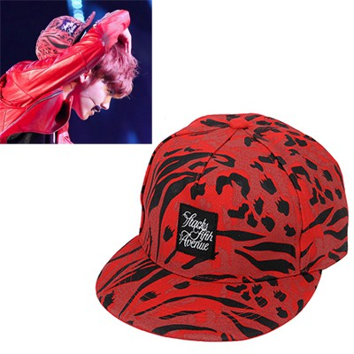 Ladies dark red leopard pattern simple design canvas Baseball Caps